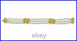 Tiffany &Co 18K Yellow Gold Diamond. 36CW Cultured Pearls Dogwood Flower Bracele