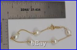 Tiffany & Co. 18k Yellow Gold Elsa Peretti 5 Pearl Bracelet, 7.25 Long