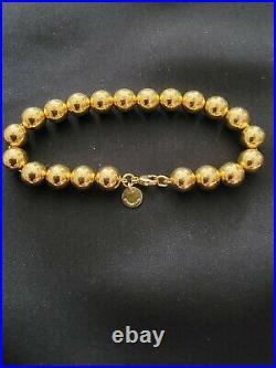 Tiffany & Co 7 18K(750) Yellow Gold 7mm 21 Bead Bracelet