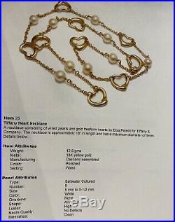 Tiffany & Co. Elsa Peretti Open Heart Pearl 750 18K Gold Necklace & Bracelet