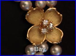 Tiffany & Co. Set Dogwood Gold Diamond & Pearl Necklace and Bracelet Set