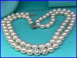 Tiffany&Co Signature AAA Akoya Pearls 18K W GOLD Double Side Clasp 7.25Bracelet