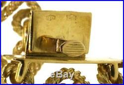 Tiffany & Co. Vintage heavy 18K gold 6mm pearl 26mm wide cable link bracelet