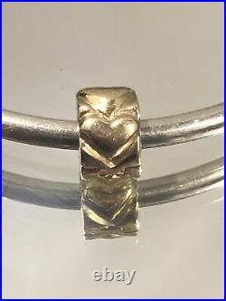 Tiny PANDORA ALE 14k Yellow Gold Beating Heart Bracelet Clip Spacer Bead Charm