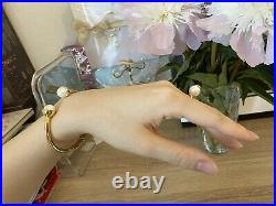 Tory Burch Designer Pearl Cuff Bracelet Bangle Gold New With Original Pouch