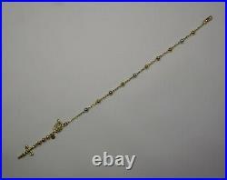 Tricolor Gold Rosary Bracelet, 14k Gold Crucifix Rosary Ball Bead Bracelet -76-7