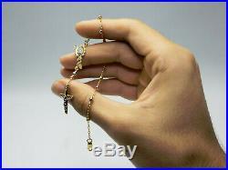 Tricolor Gold Rosary Bracelet, 14k Gold Crucifix Rosary Bead Bracelet 77-7