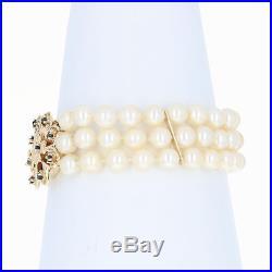 Triple Strand Cultured Pearl Bracelet 6 1/4 14k Gold Sapphire Accents. 60ctw
