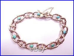 Turquoise and pearl antique gold bracelet 9 carat rose late victorian