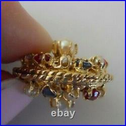 UNIQUE HEAVY Vintage 14k Gold FANCY JEWELED SPHERE Bracelet Charm 9.8 Gr #20059C