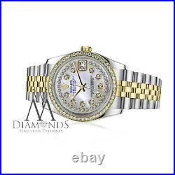 Unisex Rolex 36mm Datejust 2 Tone White Mother Of Pearl String Diamond Dial