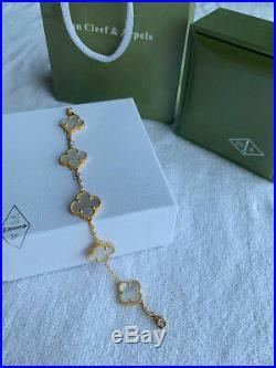 VCA Sweet Alhambra 18k Yellow Gold Mother of Pearl Clover Bracelet