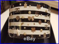 VGUC CHANEL Wide Logo Pearl Lucite HInge Bracelet Black White Stripe Silver Gold
