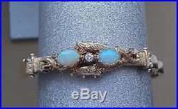 VINTAGE 14K YELLOW GOLD OPAL CABOCHON BRACELET With DIAMONDS & SEED PEARLS 23 GR