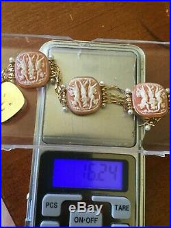 VINTAGE ESTATE 14K YELLOW GOLD CAMEO PEARL ITALIAN CAMEO BRACELET 19mm 16gr