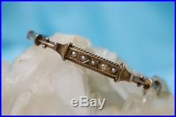 VTG Estate Art Deco 9K Gold & Genuine Seed Pearl Bangle Bracelet! WOW