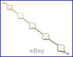 Van Cleef & Arpels 18k Yellow Gold Vintage Alhambra Mother Of Pearl Bracelet