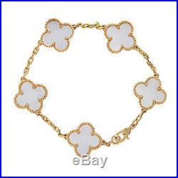 Van Cleef & Arpels Vintage Alhambra MOP 5 Motif Bracelet, 18K Yellow Gold