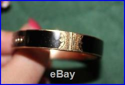 Victorian 10k Gold Aesthetic Black Enamel Seed Pearl Bird Hinged Bangle Bracelet