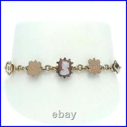 Victorian 10k Rose Gold Top Gold Filled Cameo Seed Pearl Charm Bracelet 7 inch