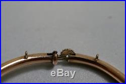 Victorian 12K Yellow Gold Hinged Bangle Bracelet With Seed Pearls