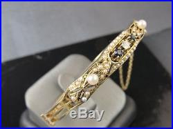 Victorian 14KT Yellow Gold Diamond Sapphire And Seed Pearl Bangle Bracelet