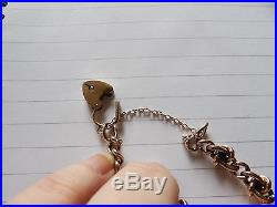 Victorian 9 Carat Rose Gold Turquoise & Split Pearl Link Bracelet Padlock Pfw465