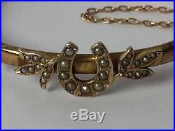 Victorian 9ct Rose Gold Seed Pearl Horse Shoe Horseshoe Bangle Bracelet Hinged