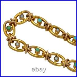 Victorian Gold Turquoise Pearl Bracelet