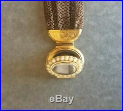 Victorian Hair Jewelry Mourning Bracelet 14k Gold & Pearl with Locket 1800s