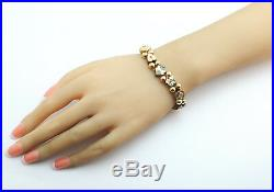 Victorian Pearl Turquoise Garnet Black Opal Slide Bracelet 10k Yellow gold