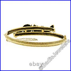 Victorian Revival 14k Gold Ruby Pearl Dual Snake Bypass Hinged Bangle Bracelet