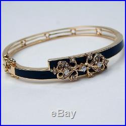 Victorian Style Diamond Seed Pearl Enamel Bangle Bracelet 6.25+ 14 k Gold A3247