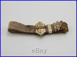 Victorian Style Gold Tone Expandable Mesh Bracelet Bead-Pearl Stones withMonogram