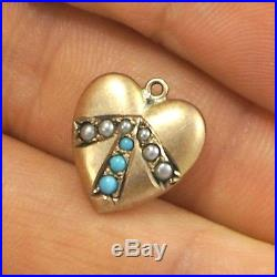 Victorian Vintage 14k Rose Gold Turquoise Pearl Set Puffy Heart Bracelet Charm