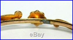 Victorian red stone seed pearl daisy cluster 9 ct gold bangle bracelet Antique