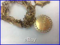 Vintage14K Gold Charm Bracelet 4 Charms w Stones Pearls 34g 7 in Estate Piece