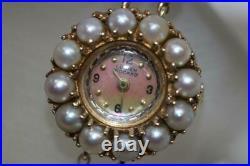 Vintage 14K Gold Lucien Piccard 0555 Pearl Bracelet/Bezel MOP Dial Wind-up Watch