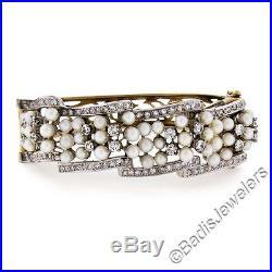 Vintage 14K Two Tone Gold Pearl & 2.60ctw Diamond Open Wide Wavy Bangle Bracelet