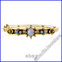 Vintage 14K Yellow Gold Opal & Pearl Textured Floral Open Hinged Bangle Bracelet