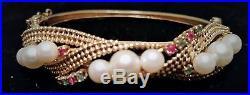 Vintage 14K Yellow Gold PEARL, RUBY, & EMERALD BANGLE Bracelet