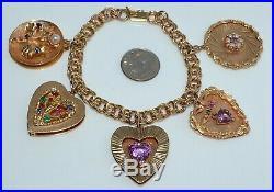 Vintage 14 kt Gold Charm Bracelet 5 Hearts Diamonds, Gemstones, Pearls 44.8 Gm