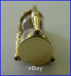 Vintage 14k Gold 3D HOURGLASS EGG TIMER Bracelet Charm SAND MOVES 2.8 Gr #19048A