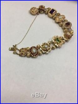 Vintage 14k Gold 7.5 Slide Bracelet 9 Charm Opal Pearl Cameo Amythyst 29.3G