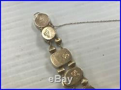 Vintage 14k Gold 7.5 Slide Bracelet 9 Charm Topaz Pearl Cameo Amythyst 29.3G