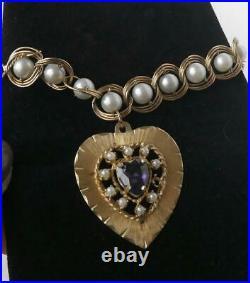Vintage 14k Gold Caged Pearl Charm Bracelet Huge Amethyst Seed Pearl Heart 22.7g