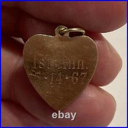 Vintage 14k Gold ENGINE TURNED HEART WITH PEARL Bracelet Charm