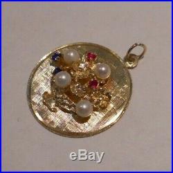 Vintage 14k Gold FLOWER BASKET Bracelet Charm PEARLS RUBY SAPPHIRE 4.8 G #20006D