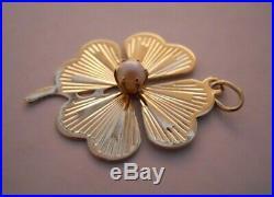 Vintage 14k Gold FOUR LEAF CLOVER With PEARL GOOD LUCK Bracelet Charm 3.0 G #19055