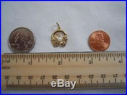 Vintage 14k Gold LUCKY HORSESHOE 4 LEAF CLOVER PEARL Bracelet Charm 1.5G #18028G